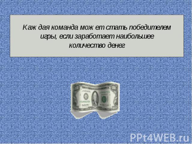 Каждая команда может стать победителем игры, если заработает наибольшее количество денег