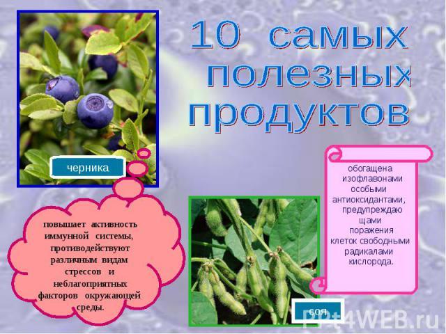10 самых полезных продуктовповышает активность иммунной системы, противодействуют различным видам стрессов и неблагоприятных факторов окружающей среды.обогащенa изофлавонамиособыми антиоксидантами, предупреждающами пораженияклеток свободными радикал…