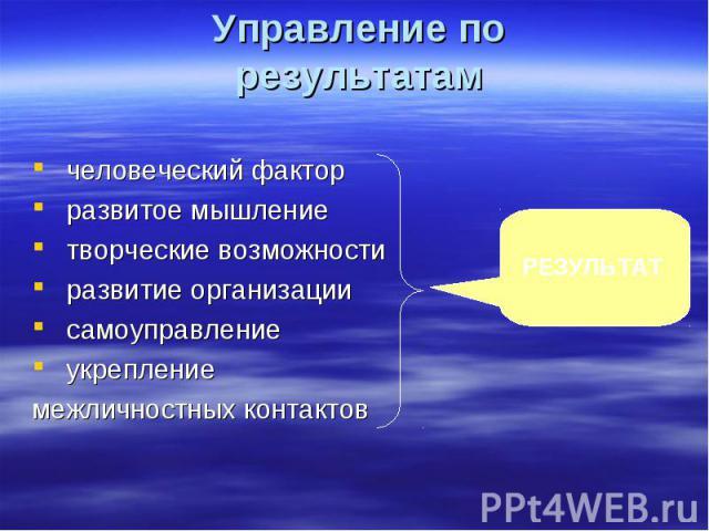Управление по результатам человеческий факторразвитое мышлениетворческие возможностиразвитие организациисамоуправлениеукрепление межличностных контактов