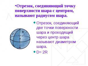 Отрезок, соединяющий точку поверхности шара с центром, называют радиусом шара. О