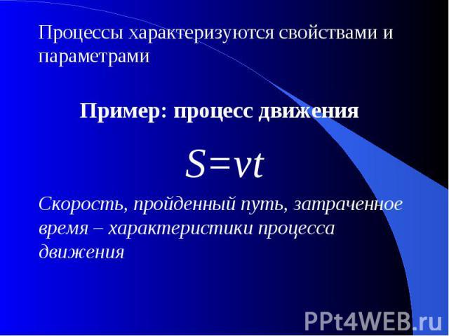 Процессы характеризуются свойствами и параметрамиПример: процесс движения S=vtСкорость, пройденный путь, затраченное время – характеристики процесса движения