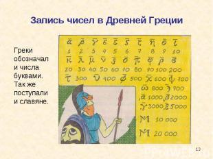 Запись чисел в Древней Греции Греки обозначали числа буквами. Так же поступали и