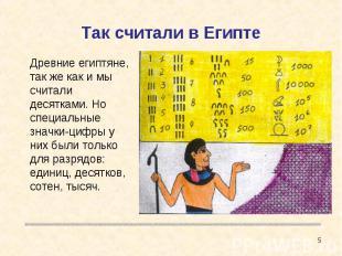 Так считали в Египте Древние египтяне, так же как и мы считали десятками. Но спе