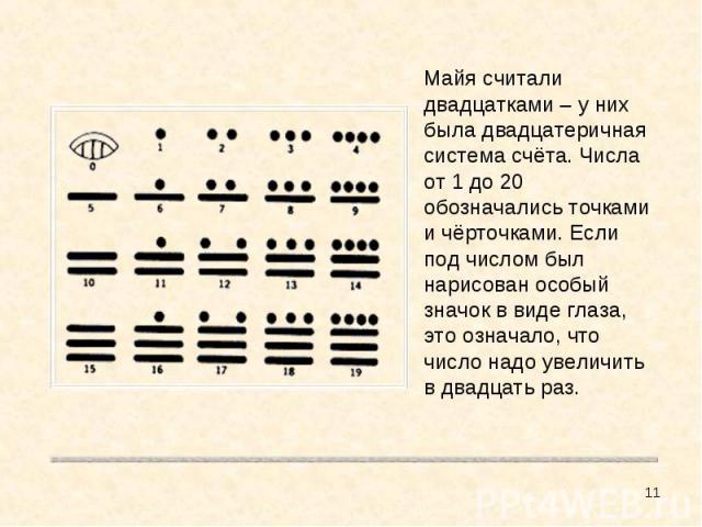 Майя считали двадцатками – у них была двадцатеричная система счёта. Числа от 1 до 20 обозначались точками и чёрточками. Если под числом был нарисован особый значок в виде глаза, это означало, что число надо увеличить в двадцать раз.