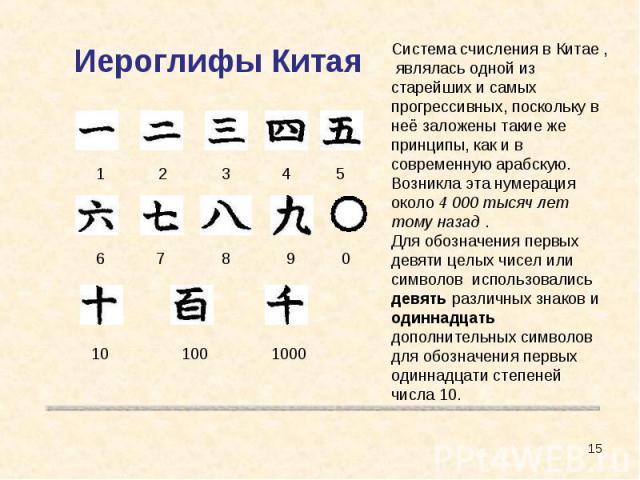 Иероглифы Китая Система счисления в Китае , являлась одной из старейших и самых прогрессивных, поскольку в неё заложены такие же принципы, как и в современную арабскую. Возникла эта нумерация около 4 000 тысяч лет тому назад .Для обозначения первых …