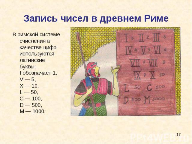 Запись чисел в древнем Риме В римской системе счисления в качестве цифр используются латинские буквы:I обозначает 1,V — 5,X — 10,L — 50,C — 100,D — 500,M — 1000.