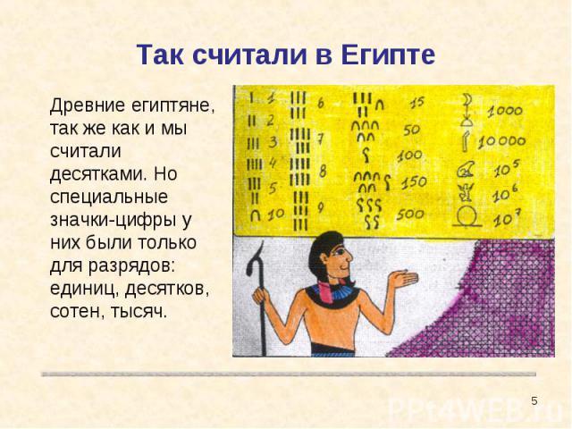 Так считали в Египте Древние египтяне, так же как и мы считали десятками. Но специальные значки-цифры у них были только для разрядов: единиц, десятков, сотен, тысяч.