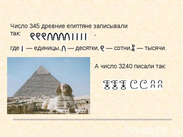 Число 345 древние египтяне записывали так: ,где — единицы, — десятки, — сотни, — тысячи.