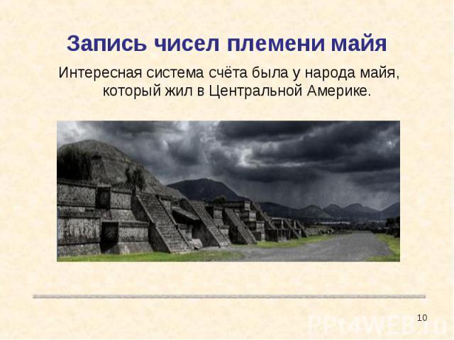 Запись чисел племени майя Интересная система счёта была у народа майя, который жил в Центральной Америке.