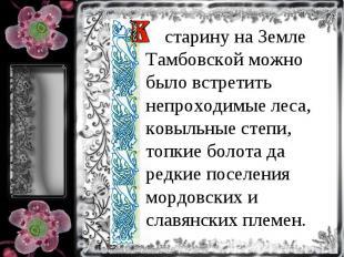 старину на Земле Тамбовской можно было встретить непроходимые леса, ковыльные ст