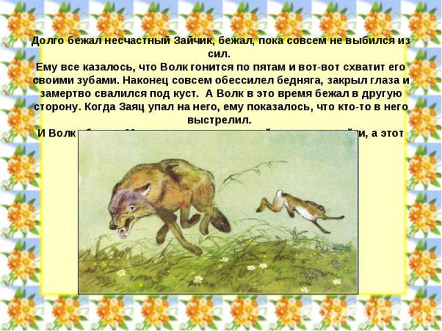Долго бежал несчастный Зайчик, бежал, пока совсем не выбился из сил. Ему все казалось, что Волк гонится по пятам и вот-вот схватит его своими зубами. Наконец совсем обессилел бедняга, закрыл глаза и замертво свалился под куст. А Волк в это время беж…