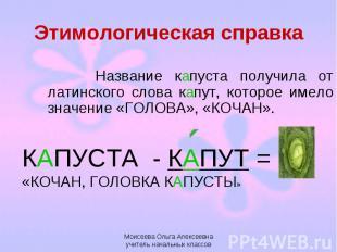 Этимологическая справка Название капуста получила от латинского слова капут, кот