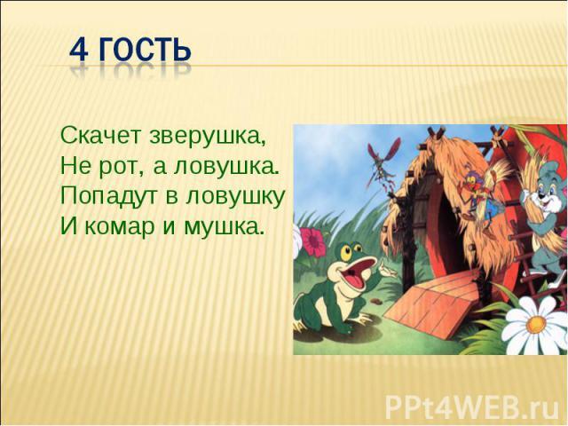 Скачет зверушка,Не рот, а ловушка.Попадут в ловушкуИ комар и мушка.