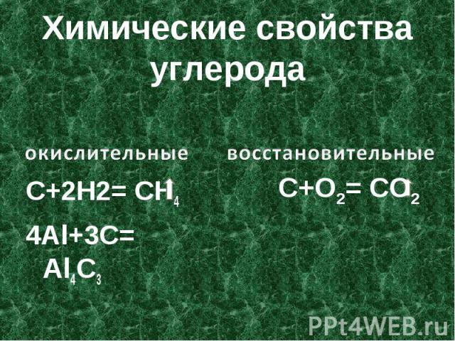 Химические свойства углерода С+2Н2= СН44Al+3C= Al4C3 окислительные восстановительные