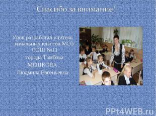 Спасибо за внимание! Урок разработал учитель начальных классов МОУ СОШ №11 город