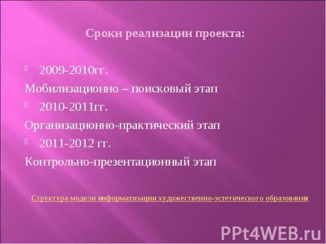 Сроки реализации проекта:2009-2010гг. Мобилизационно – поисковый этап2010-2011гг.Организационно-практический этап2011-2012 гг.Контрольно-презентационный этапСтруктура модели информатизации художественно-эстетического образования