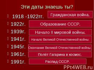 Эти даты знаешь ты? 1918 -1922гг.1922г.1939г.1941г.1945г.1961г.1991г.