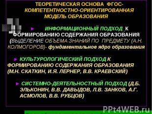 ТЕОРЕТИЧЕСКАЯ ОСНОВА ФГОС-КОМПЕТЕНТНОСТНО-ОРИЕНТИРОВАННАЯ МОДЕЛЬ ОБРАЗОВАНИЯ► ИН