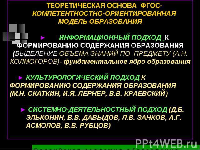 ТЕОРЕТИЧЕСКАЯ ОСНОВА ФГОС-КОМПЕТЕНТНОСТНО-ОРИЕНТИРОВАННАЯ МОДЕЛЬ ОБРАЗОВАНИЯ► ИНФОРМАЦИОННЫЙ ПОДХОД К ФОРМИРОВАНИЮ СОДЕРЖАНИЯ ОБРАЗОВАНИЯ (ВЫДЕЛЕНИЕ ОБЪЕМА ЗНАНИЙ ПО ПРЕДМЕТУ (А.Н. КОЛМОГОРОВ)- фундаментальное ядро образования► КУЛЬТУРОЛОГИЧЕСКИЙ ПО…