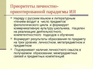 Приоритеты личностно-ориентированной парадигмы ИЯ Наряду с русским языком и лите