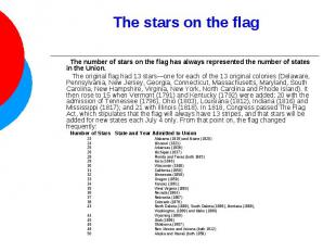 The stars on the flag The number of stars on the flag has always represented the