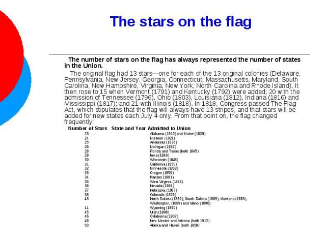 The stars on the flag The number of stars on the flag has always represented the number of states in the Union. The original flag had 13 stars—one for each of the 13 original colonies (Delaware, Pennsylvania, New Jersey, Georgia, Connecticut, Massac…