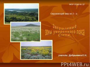МОУ СОШ № 12 Окружающий мир во 2 - а Засушлевые зоны умеренного пояса. Степи. уч