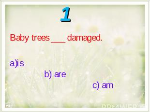 Baby trees ___ damaged.is b) are c) am
