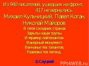 Из 940 писателей, ушедших на фронт, 417 не вернулись. Михаил Кульчицкий, Павел К