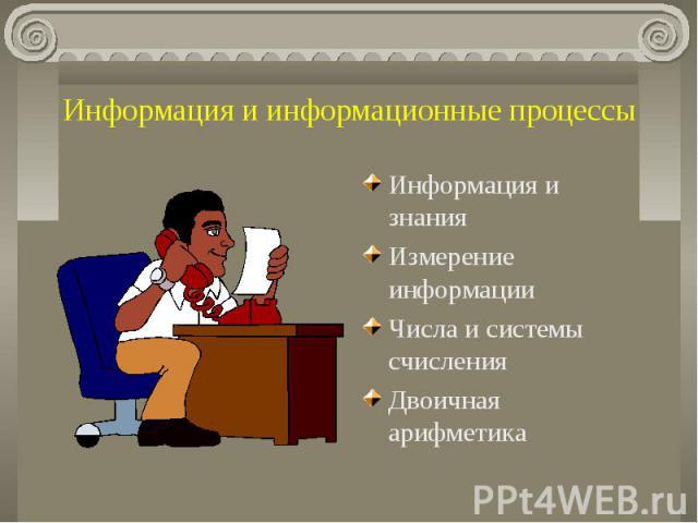 Информация и информационные процессы Информация и знанияИзмерение информации Числа и системы счисленияДвоичная арифметика