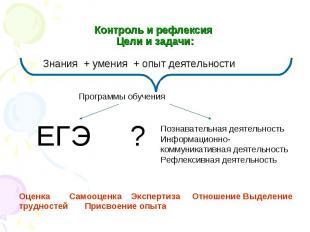 Контроль и рефлексия Цели и задачи: Знания + умения + опыт деятельности Программ