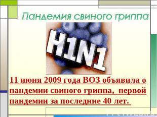 Пандемия свиного гриппа 11 июня 2009 года ВОЗ объявила о пандемии свиного гриппа