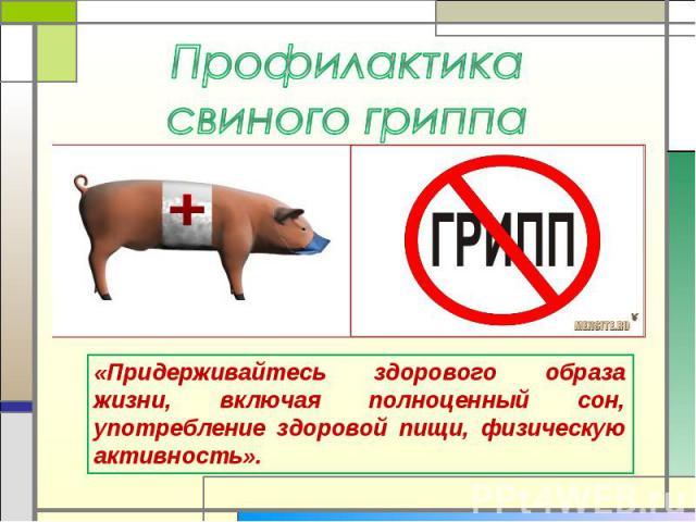 Профилактика свиного гриппа «Придерживайтесь здорового образа жизни, включая полноценный сон, употребление здоровой пищи, физическую активность».