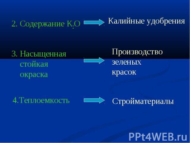 2. Содержание K2O Очистка почвы от тяжелых металлов, радиоактивныхэлементов4.Теплоемкость