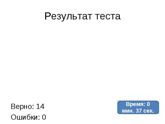 Результат теста Верно: 14Ошибки: 0Отметка: 5