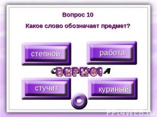 Вопрос 10Какое слово обозначает предмет?