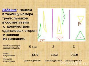 Задание: Занеси в таблицу номера треугольников в соответствии с количеством один