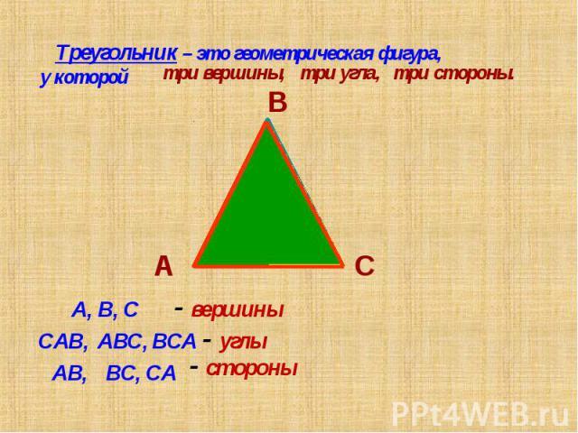 Треугольник – это геометрическая фигура, у которой