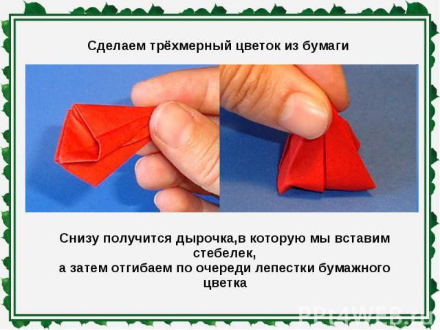 Сделаем трёхмерный цветок из бумаги Снизу получится дырочка,в которую мы вставим стебелек,а затем отгибаем по очереди лепестки бумажного цветка