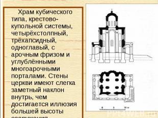 Храм кубического типа, крестово-купольной системы, четырёхстолпный, трёхапсидный