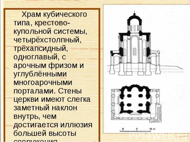 Храм кубического типа, крестово-купольной системы, четырёхстолпный, трёхапсидный, одноглавый, с арочным фризом и углублёнными многоарочными порталами. Стены церкви имеют слегка заметный наклон внутрь, чем достигается иллюзия большей высоты сооружения.