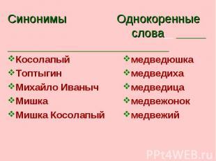 Синонимы Однокоренные слова КосолапыйТоптыгинМихайло ИванычМишкаМишка Косолапый
