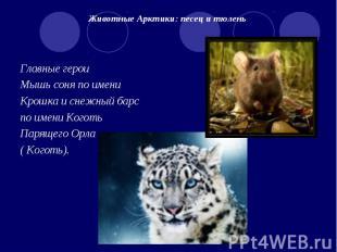Животные Арктики: песец и тюлень Главные героиМышь соня по имениКрошка и снежный
