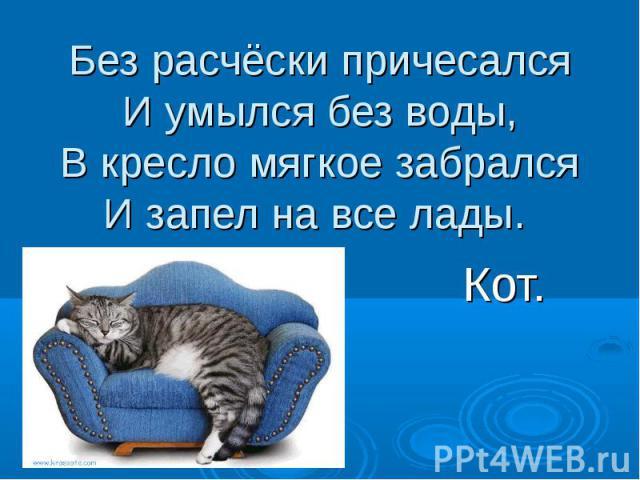 Без расчёски причесалсяИ умылся без воды,В кресло мягкое забралсяИ запел на все лады. Кот.