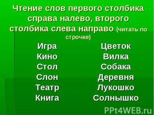 Чтение слов первого столбика справа налево, второго столбика слева направо (чита