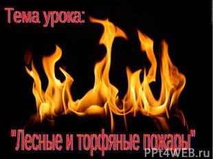 """Тема урока:""""Лесные и торфяные пожары"""""""
