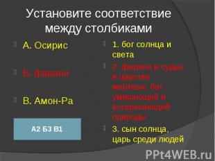 Установите соответствие между столбиками А. ОсирисБ. фараонВ. Амон-Ра1. бог солн