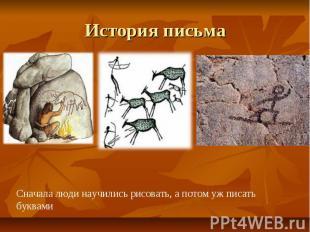 История письма Сначала люди научились рисовать, а потом уж писать буквами