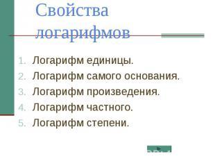 Свойства логарифмов Логарифм единицы.Логарифм самого основания.Логарифм произвед