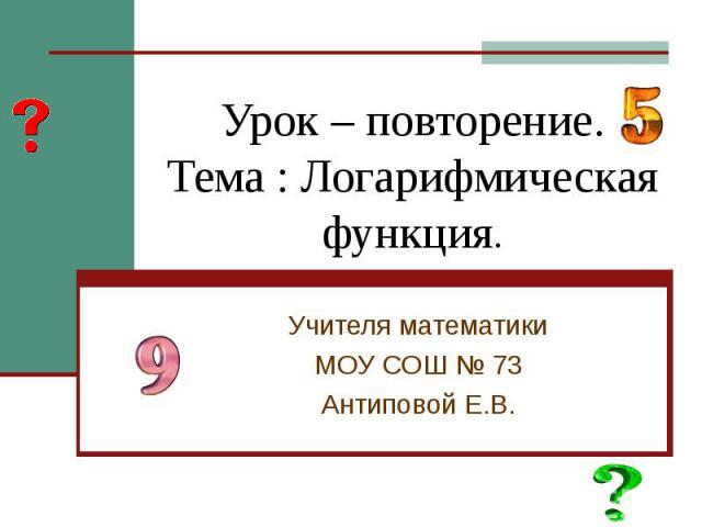 Урок – повторение.Тема : Логарифмическая функция. Учителя математикиМОУ СОШ № 73Антиповой Е.В.